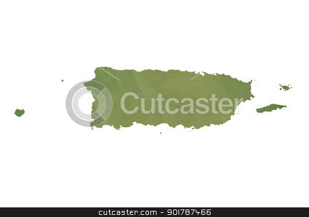Old green paper map of Puerto Rico stock photo, Old green paper map of Puerto Rico isolated on white background by Martin Crowdy