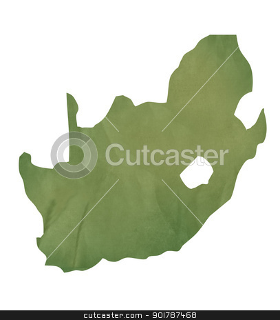 Old green paper map of South Africa stock photo, Old green paper map of South Africa isolated on white background by Martin Crowdy