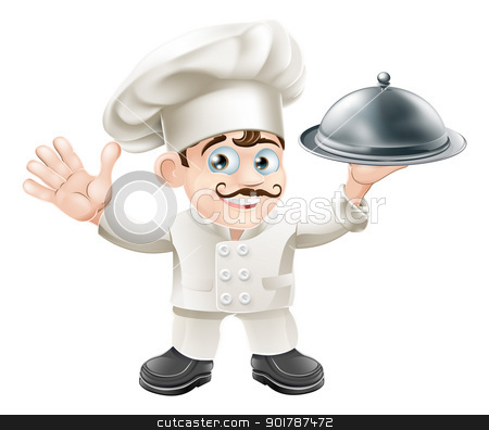 French chef stock vector clipart, A cute French chef mascot with moustache holding a silver food platter and looking at viewer  by Christos Georghiou