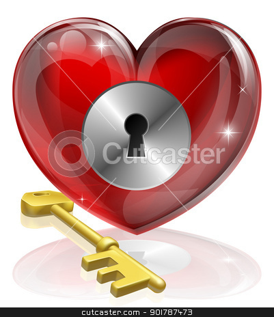 Heart lock and key stock vector clipart, Heart lock and key concept illustration, could be symbol for finding love or repressing feelings or being guarded  by Christos Georghiou