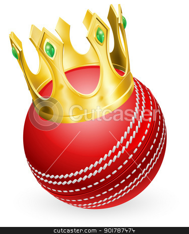 King of cricket stock vector clipart, King of cricket concept, a cricket ball wearing a gold crown by Christos Georghiou