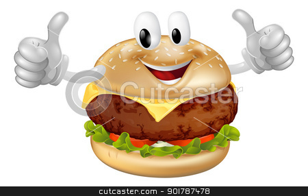Burger Mascot stock vector clipart, Illustration of a cute happy beef or cheese burger mascot man smiling and giving a thumbs up by Christos Georghiou