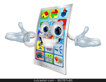 Cell phone mascot cartoon stock vector clipart, Cell phone character mascot cartoon illustration  by Christos Georghiou