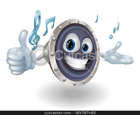 Speaker mascot stock vector clipart, A happy speaker mascot giving a thumbs up with musical notes by Christos Georghiou