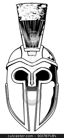 Monochrome Spartan helmet illustration stock vector clipart, Illustration of front on Spartan helmet or Trojan helmet also called a Corinthian helmet. Versions also used by the Romans. by Christos Georghiou
