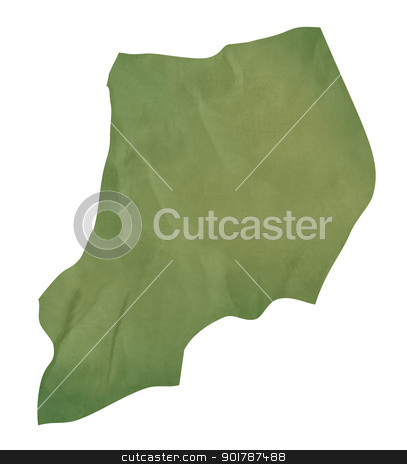 Old green paper map of Uganda stock photo, Old green paper map of Uganda isolated on white background by Martin Crowdy