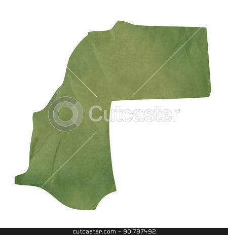Old green paper map of Western Sahara stock photo, Old green paper map of Western Sahara isolated on white background by Martin Crowdy