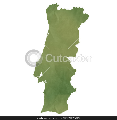 Portugal map on green paper stock photo, Portugal map in old green paper isolated on white background. by Martin Crowdy