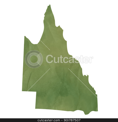 Queensland map on green paper stock photo, Queensland map in old green paper isolated on white background. by Martin Crowdy