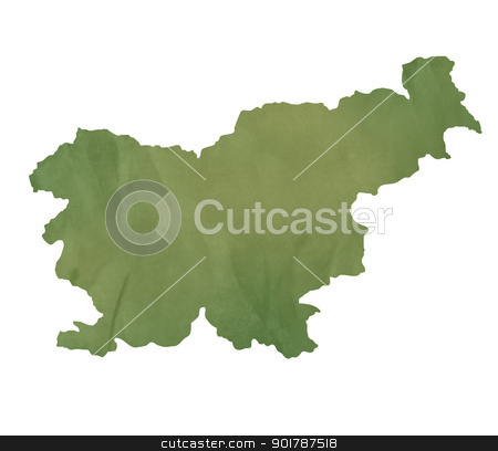 Slovenia map on green paper stock photo, Slovenia map in old green paper isolated on white background. by Martin Crowdy