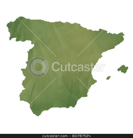 Spain map on green paper stock photo, Spain map in old green paper isolated on white background. by Martin Crowdy