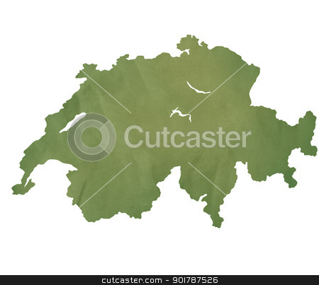 Switzerland map on green paper stock photo, Switzerland, Swiss, map in old green paper isolated on white background. by Martin Crowdy