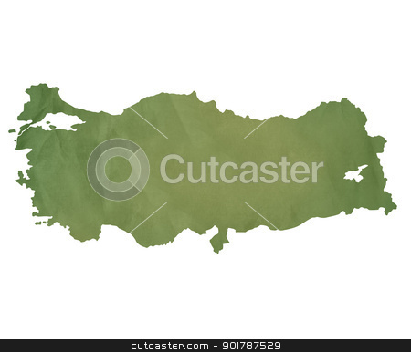 Turkey map on green paper stock photo, Turkey map in old green paper isolated on white background. by Martin Crowdy
