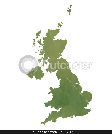 United Kingdom map on green paper stock photo, United Kingdom map in old green paper isolated on white background. by Martin Crowdy