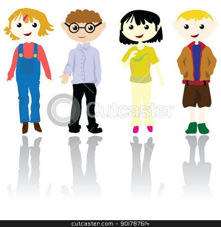 cartoon kids  stock vector clipart, cartoon boys and girls for children, fashion, education and fun by glossygirl21