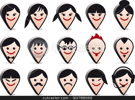 avatar heads, vector faces icon set stock vector clipart, 3D head avatars, vector people icon set by Beata Kraus