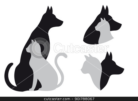 cat and dog, vector stock vector clipart, cat and dog in friendship, vector illustration by Beata Kraus