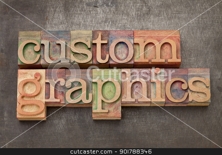 custom graphics in wood type stock photo, custom graphics  - text in vintage letterpress wood type on a grunge metal background by Marek Uliasz