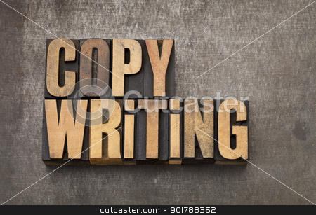 copywriting word in wood type stock photo, copywriting word - vintage letterpress wood type on a grunge metal background by Marek Uliasz