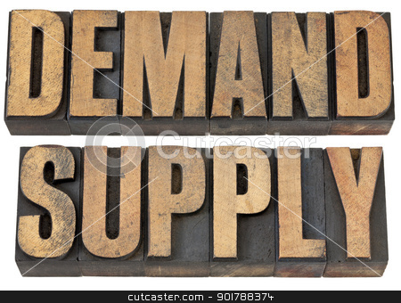 demand and supply words in wood type stock photo, demand and supply words - isolated text in vintage letterpress wood type by Marek Uliasz