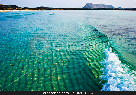 Green wave stock photo, A wave in the Tyrrhenian Sea near la Cinta beach, Sardinia, Italy by Alexey Popov