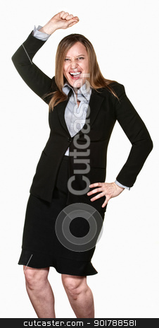 Dancing Business Lady stock photo, Happy business woman with hand on hip dancing over white background  by Scott Griessel