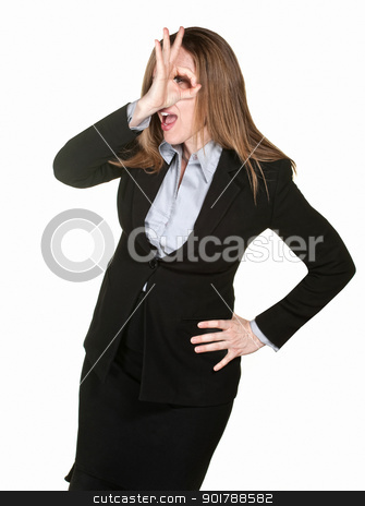 Woman Makes Funny Gesture stock photo, Professional woman makes hand gesture next to her eye by Scott Griessel
