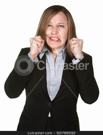 Woman With Clenched FIsts stock photo, Anxious Caucasian business woman with clenched fists by Scott Griessel