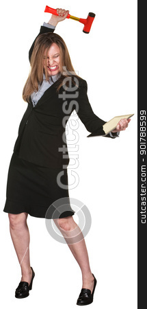 Woman Smashes Tablet stock photo, Furious businesswoman smashes computer tablet with mallet by Scott Griessel