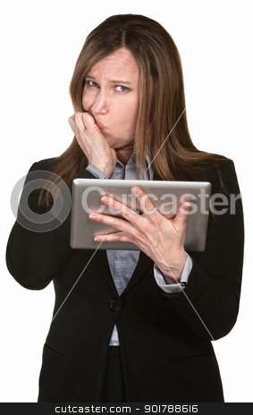 Confused Businesswoman Holds a Tablet stock photo, Scared lady holding tablet over white background by Scott Griessel