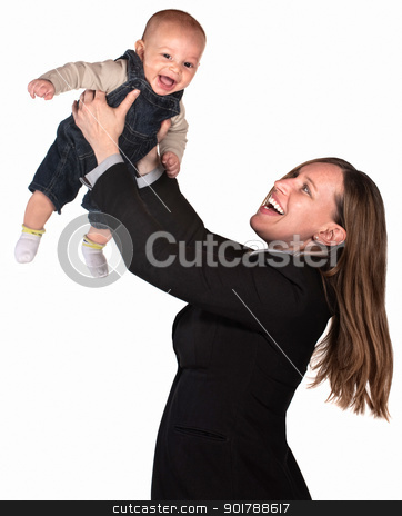 Professional Woman Lifts Her Baby stock photo, Pretty businesswoman holding her baby over white background by Scott Griessel