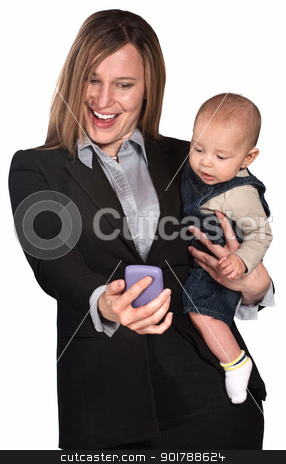 Businesswoman and Baby Look at Phone stock photo, Pretty lady with baby looking at her telephone screen by Scott Griessel