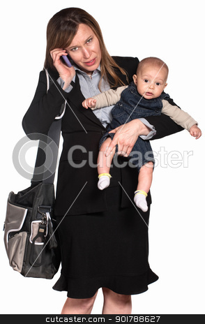 Busy Woman with Baby stock photo, Hispanic businesswoman with baby over white background by Scott Griessel