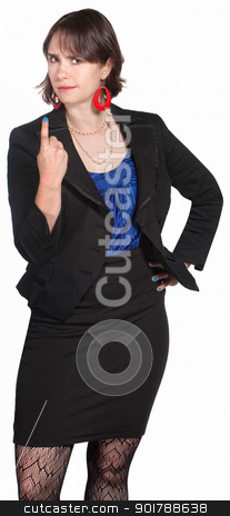 Executive in Black Gesturing stock photo, Tough young businesswoman summons with index finger by Scott Griessel