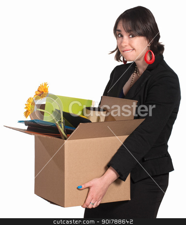 Fired Female Employee stock photo, Embarrassed professional woman carrying box of items by Scott Griessel