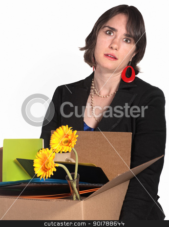 Laid Off Employee stock photo, Frustrated woman in black dress carries belongings in box by Scott Griessel