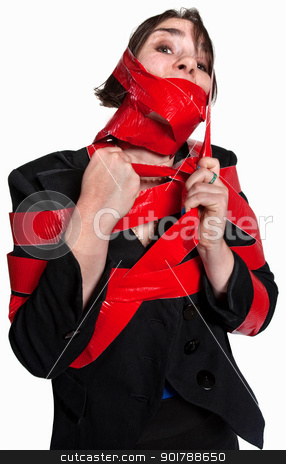 Woman In Red Tape stock photo, Young female executive tied in red tape by Scott Griessel