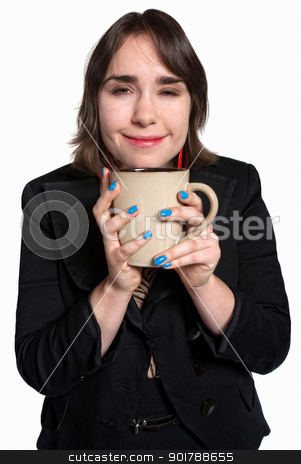 Happy Worker with Cup stock photo, Happy white female professional with ceramic mug by Scott Griessel
