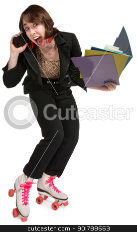 Energetic Female Professional stock photo, Energetic office worker with pink roller skates and telephone by Scott Griessel