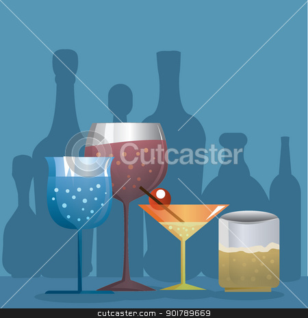 food and drink background stock vector clipart, cocktail, wine and beer drinks for entertainment, clubs and others by glossygirl21