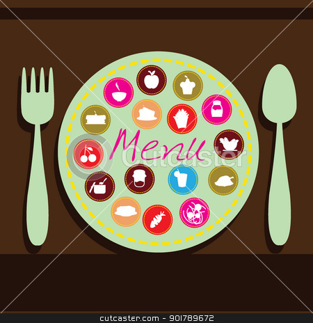 food and drink background stock vector clipart, plate, fork and spoon background for menu, dining, restaurant and others by glossygirl21