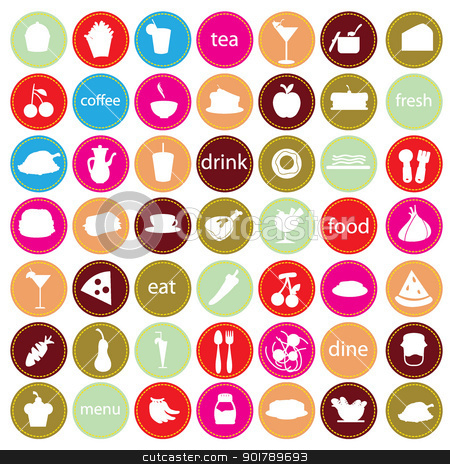 Food and drinks icons stock vector clipart food and drinks icons for