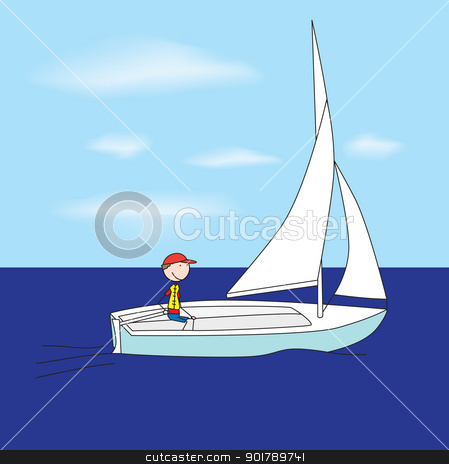 Small sailboat stock vector clipart, Illustration of a boy sailing in a small sailboat by nahhan
