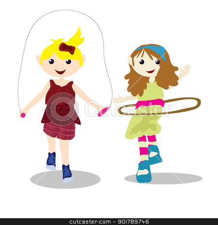 children activity - playing ball stock vector clipart, two children ...