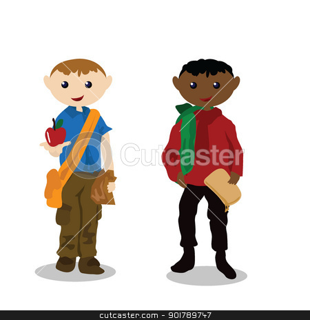 cartoon children activity - playing ball stock vector clipart, two children playing ball by glossygirl21