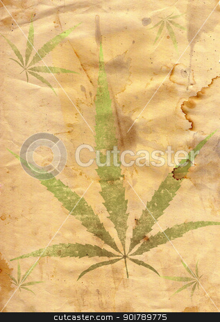 grunge paper with leaf of grass stock photo, Old grunge paper with leaf of grass in grunge style by Siloto