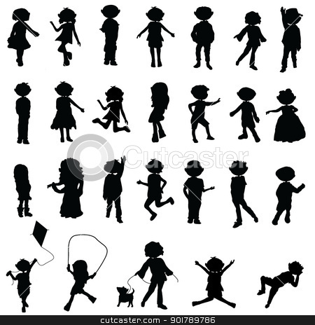 cartoon silhouettes children stock vector clipart, cartoon silhouettes children for children activity, fun and play by glossygirl21