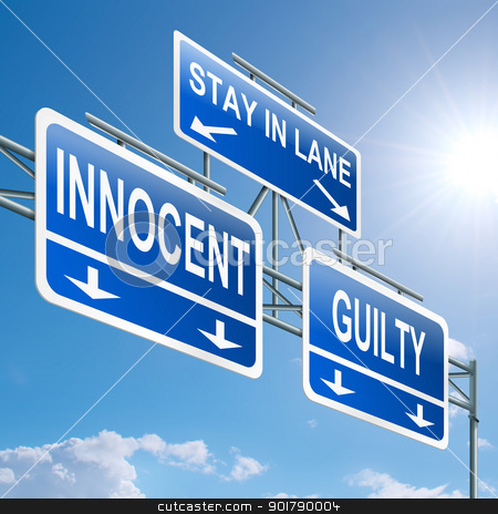 Guilty or innocent. stock photo, Illustration depicting a highway gantry sign with a innocent or guilty concept. Blue sky background. by Samantha Craddock