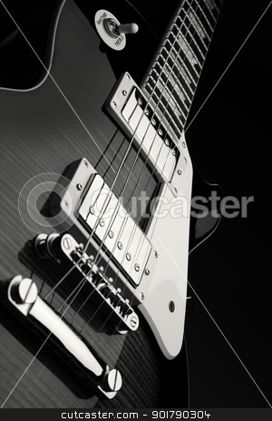 Close up shot of electric guitar stock photo, Close up shot of electric guitar - black and white by foto-fine-art