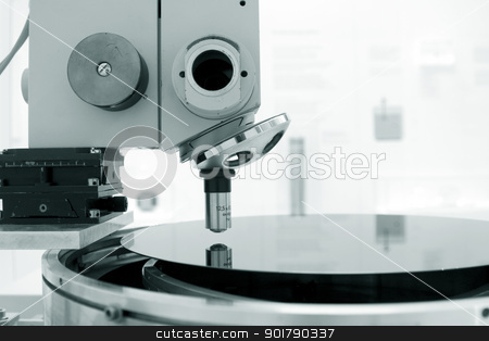 Scientific microscope in a laboratory stock photo, Scientific microscope in a laboratory with a single monocular objective conceptual of scientific or medical research by foto-fine-art